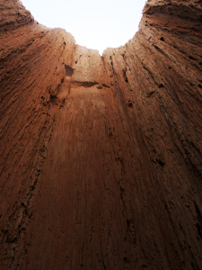 View from within a slot canyon at Cathedral Gorge State Park