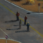 Painting of four individuals at a crossroads in the desert.