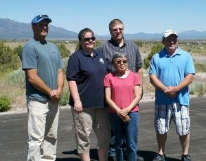 Jean Shikuma, front, visits the Pioche fire hall to give thanks to volunteers that helped her in a car accident that left her  severely injured and her husband dead in June 2011. From left, Mike Scott, Terri Hansen, John Reich and Mat Bailey all attended to receive her gratitude. (Courtesy photo)