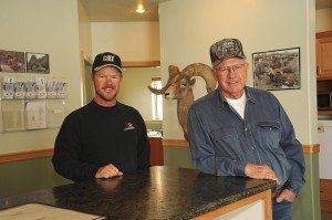 Jim Wilkin (right) and son Lorin Wilkin (left) of Jim Wilkin Trucking.  Photo by Janine Woodworth.