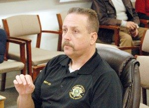 Sheriff Kerry Lee explains to county commissioners why he feels the county needs two Breathalyzer machines for CDL testings. One will be in Alamo, and one in Pioche. (Dave Maxwell photo)