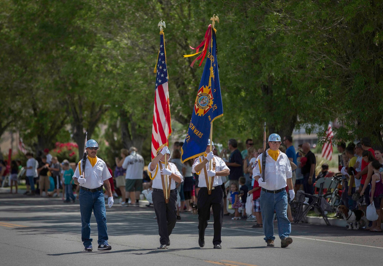 Members of the Caliente VFW present the flags at the beginning of the 4th of July parade last Thursday that went down Front Street in Caliente.