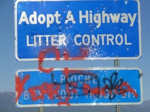 Several road signs along State Route 322 were defaced this past weekend, and Sheriff's deputies are looking for information from anyone who may have