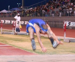 Austin Poulsen of Pahranagat Valley won the Division IV state triple jump title. It was his fourth consecutive title in the event. He also won the state long jump title. (Dave Maxwell Photo)