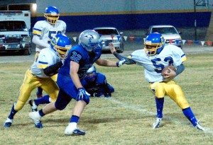 The Pahranagat Valley high football team went hunting wolves last Friday in Alamo, under nearly a full moon, and came after them with a three-pronged pitchfork, their MCL 1150 backfield:
