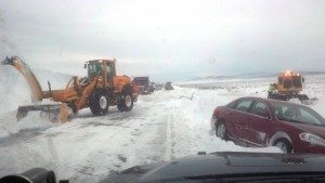 At least 80 miles of U.S. Highway 93 north of Pioche to Ely was closed shortly after noon Nov. 21 due to heavy drifting snow, which in some places measured as much as four to six feet deep.