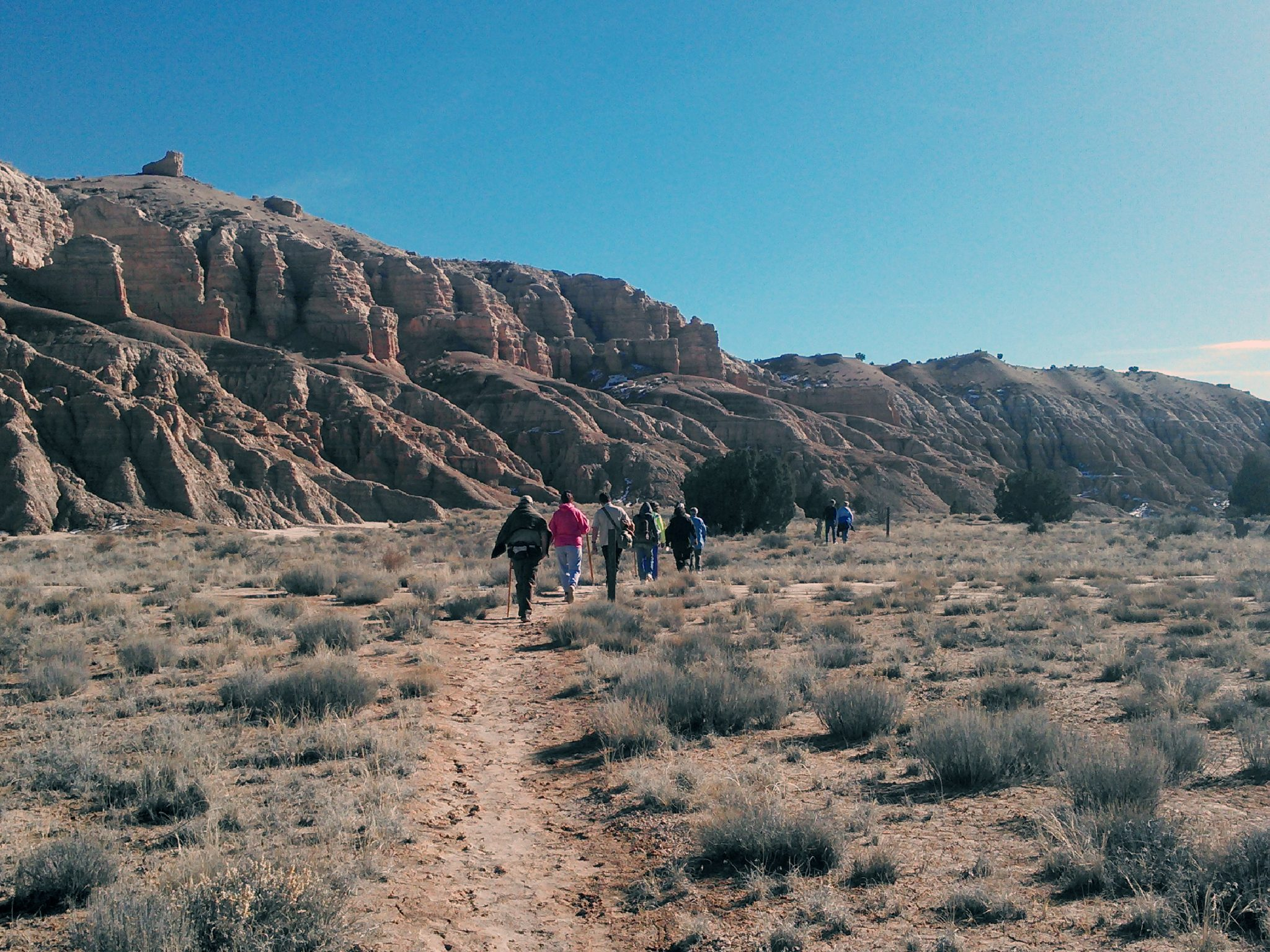 Hikers celebrate New Year at Cathedral Gorge
