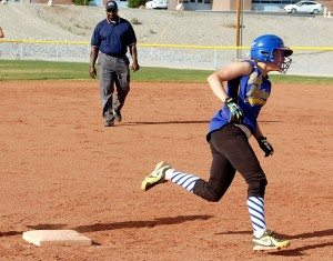 Madison Harris, Jamie Hansen and Merinna Scott all had two-run inside-the-park homers in the same inning to help power Pahranagat Valley to a 16-1 win