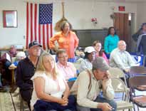 Townspeople attend the meeting with the Public Utilities Commission in Rachel this week.