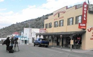 A Ghost Adventures camera crew shoots outside the Overland Hotel & Saloon in downtown Pioche. The crew was in town filming one of its hit television shows, Ghost Adventures.