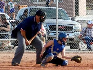 Pahranagat Valley junior catcher Jamie Hansen snags a low pitch.  Hansen had two unassisted put outs at home plate in the game this week with Sunrise Mountain.