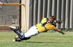 Pahranagat Valley catcher Jordan Cryts makes a diving catch of a foul ball in the game with Lake Mead on Tuesday. The Panthers won 19-3, and travel to co-league leader Tonopah this Friday.