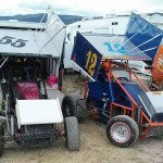 Dave Carlson, Pioche resident, has been racing mini sprints competitively for the last five years. Driving his blue and orange No. 12 car, Carlson?s team