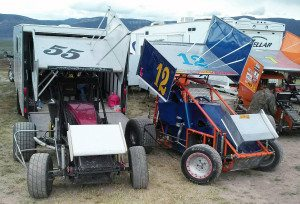 Dave Carlson, Pioche resident, has been racing mini sprints competitively for the last five years. Driving his blue and orange No. 12 car, Carlson's team
