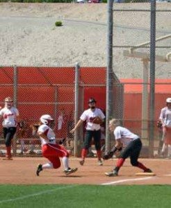 Photo courtesy of Rochelle Phillips Lincoln's Cameron Lloyd prepares to tag a Fallbrook runner out at third base at the Spring Jamboree tournament in Las Vegas last weekend. The Lady Lynx finished the tourney 1-4.