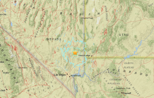 A map from the U.S. Geological Survey indicating where a 5.4-magnitude earthquake hit May 22 at 11:47 a.m.