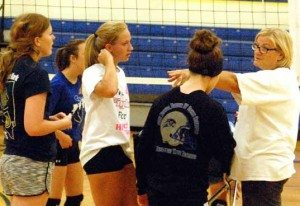 Pahranagat Valley volleyball coach Ginger Whipple talks with players during a practice session this week. The Lady Panthers open the 2015 season this weekend at the White Pine Invitational in Ely.