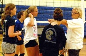 Dave Maxwell PVHS volleyball coach Ginger Whipple directs her girls through a practice session. The Lady Panthers play in the Lake Mead Fall Classic in Henderson this weekend.