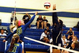 Dave Maxwell Madalyn Taylor hits one over the net against a defender in a recent game. Pahranagat Valley took a 3-0 league win at Tonopah last week, lost 3-2 at White Pine on Tuesday this week and plays this weekend in the Boulder City Invitational.