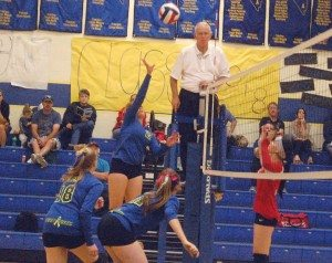 Dave Maxwell A Pahranagat Valley volleyball player tips one over the net in a recent game.  PVHS lost 3-0 to White Pine on Tuesday in non-league action and plays at Sandy Valley in league play tonight.