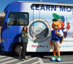 Dave Maxwell Linda English, left, Deputy State Treasurer for College Savings, and Sage, the desert tortoise mascot for the program. They visited Pahranagat Valley and Caliente Elementary schools this week as part of a statewide tour promoting early college savings programs.