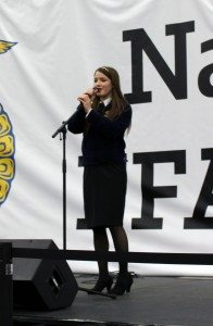 Courtesy photo Brook Higbee sings at the National FFA Convention in Louisville, KY in late October.