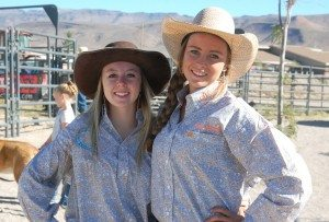 Dave Maxwell Brooke Gines of Round Mountain, left, and Lacey Steele of Alamo, both members of the Alamo High School Rodeo Club.  Both competed in the Alamo High School Rodeo this past weekend.