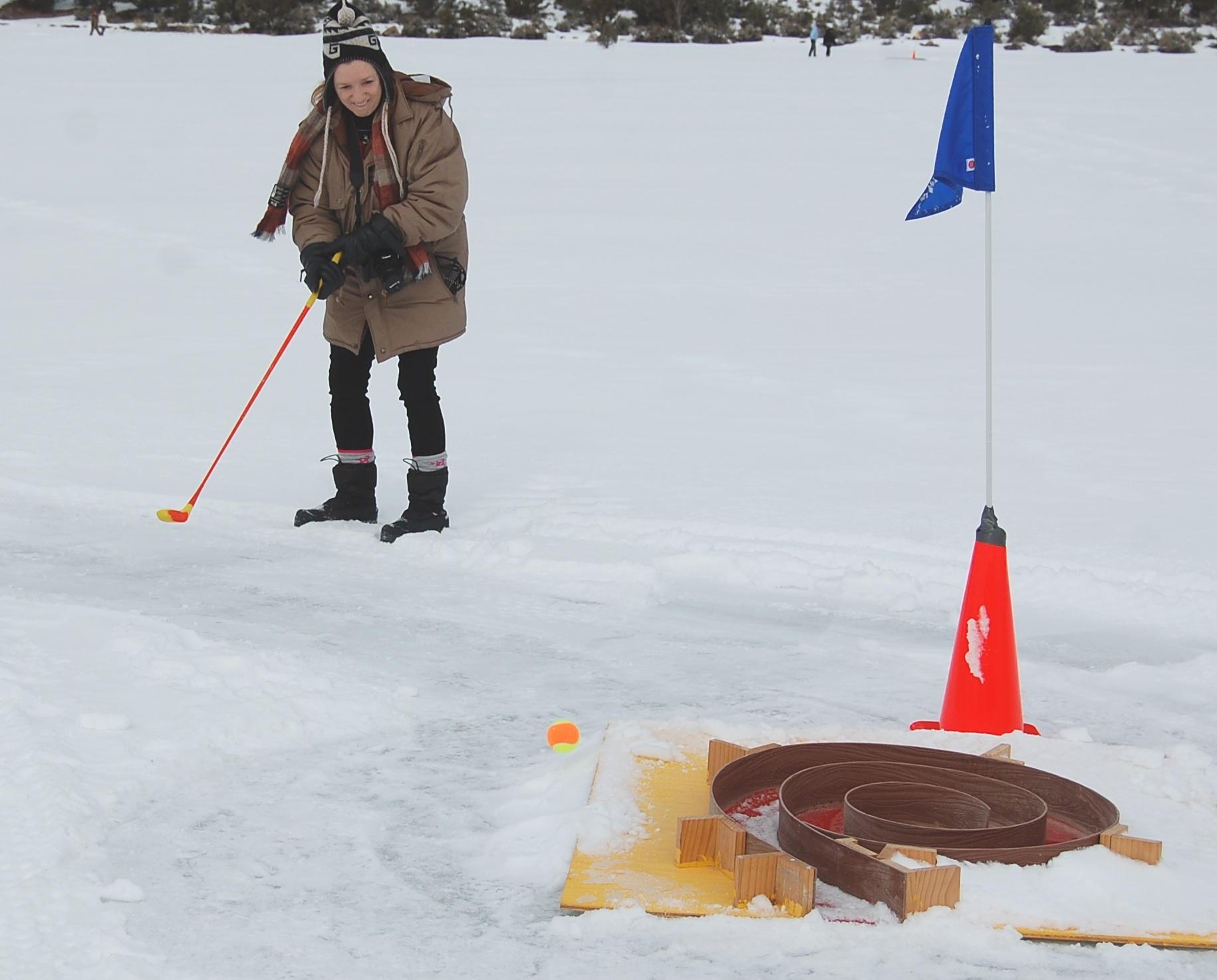 Locals, visitors enjoy ice golf event
