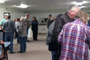 Marie Mason Local residents gathered at the Caliente Firehouse to participate in the Republican presidential caucus Tuesday evening.