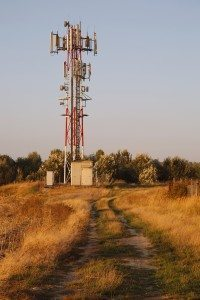 Transmitter tower in a rural area