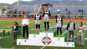 Madison Mathews (second from left) finished fourth in the 800 meters during state competition in Carson City last weekend.