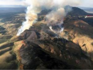 Courtesy photo The Pinto Fire, 15 miles southeast of Eureka, was fully contained July 25 after burning 1,912 acres of pinyon-juniper, brush and grasses. Smoke from this fire joined others in the area covered Lincoln County this week.