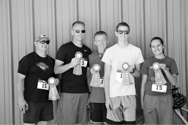 Sarah Somers -  Adventure Relay winning team at the Lincoln County Fair and Rodeo. From left, Gary Stevens, Chase Dirks, Cody Dirks, Tyler Frehner and Asia Frehner.