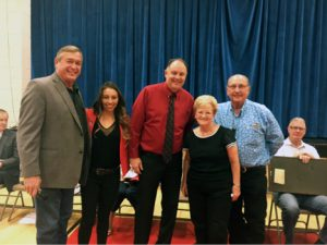 From left, Congressman Cresent Hardy,  UNLV's Andrea Alires, LCHS' Marty Soderborg and Sandy and Bob Ellis at Caliente