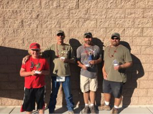 Sarah Somers -  Horseshoes Doubles Tournament Winners (from left) Tanner Wilkin and Richard Simpson (First Place); Brian McBride and Bill Locke (Second Place).