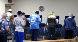 Dave Maxwell - Voters cast their ballot at the Alamo Annex Tuesday. Although Hillary Clinton carried the state, Donald Trump won Lincoln County 1,671 to 285.