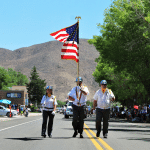 Photo courtesy of Dana Lee Fruend The Color Guard makes its way down the street during the annual Caliente Fourth of July parade.