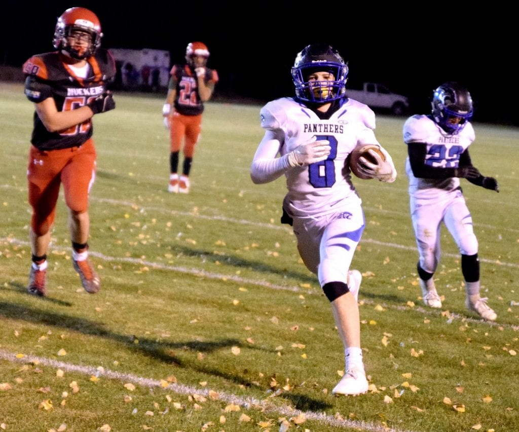 Dave Maxwell Jesse Jones scores an early touchdown for Pahranagat Valley during a 42-36 playoff loss to Tonopah last week.