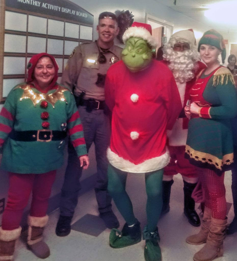 On Dec. 21, Caliente VFW Post 7114 brought Santa to visit Grover C. Dils' long-term residents. While Santa was greeting the residents, the Grinch snuck in, trying to steal their gifts. To his disappointment, Lincoln County Sheriff Sergeant Chase Dirks was on hand and arrested him. As the culprit was escorted out, residents' gifts were returned, and the fun continued.