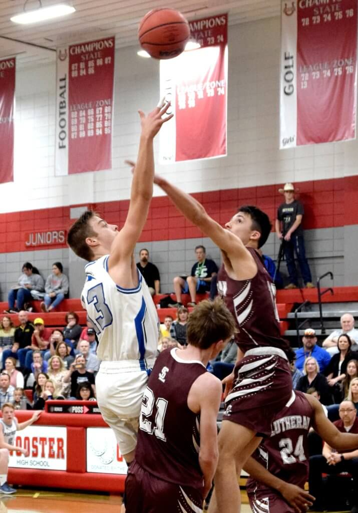 Pahranagat's Ira Bowman shoots over a player from Sierra Lutheran in the state semifinals last week in Reno. PVHS won the game 58-49, but lost the next night in the finals to defending champion Mineral County.