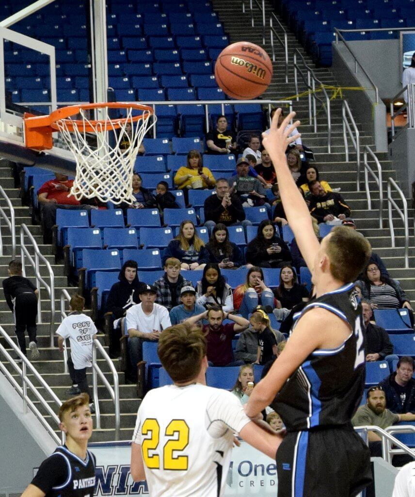 Jamison Miller puts up a shot for Pahranagat Valley in the state championship game in Reno last week. The Panthers lost 50-38 to defending champion Mineral County.